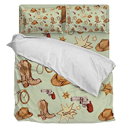 T&H Home 4 Pcs Bedding Sets, Artistic Duvet Cover Set, American Country Illustration West Cowboy Down Comforter Cover/Flat Sheet with Matching Pillowcases for Adults Teens Kids Queen - Country Daybed Set