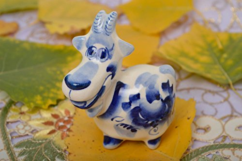 Clay Figure Handmade Present Porcelain Goat Figurine Handmade Clay Statues