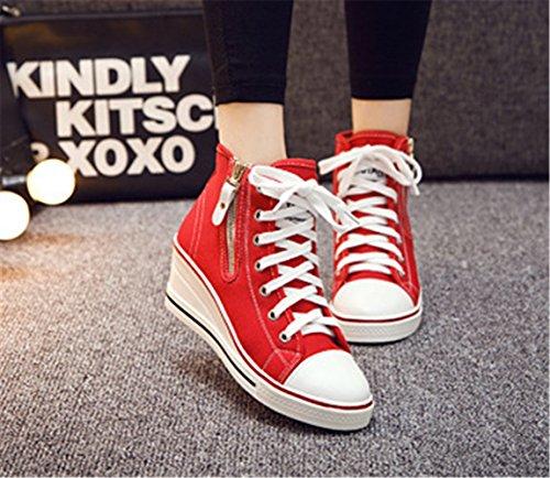 Mujer mogeek Zapatillas 43 Rojo Top Zapatos Lona Para Cuña de Mujer de High 35 Deporte T0Pq1ZT