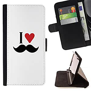 For HTC DESIRE 816 - Layer I Love Moustache Heart /Funda de piel cubierta de la carpeta Foilo con cierre magn???¡¯????tico/ - Super Marley Shop -