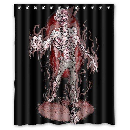 Shower Curtain Bathroom Waterproof EVA Funny Zombie Cat/Zombie Santa Claus/How to Kill A Zombie? Home Decor Bath Curtain Fabric 60(w) x72(h) Inch