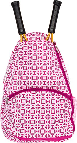 LISH Deuce Tennis Racket Backpack - Women's Geometric Square Printed Tennis Racquet Holder Bag (Rose) ()