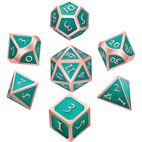 Hestya 7 Pieces Metal Dices Set DND Game Polyhedral Solid Metal D&D Dice Set with Storage Bag and Zinc Alloy with Enamel for Role Playing Game Dungeons and Dragons (Rose Gold Turquoise) (Dice Solid)