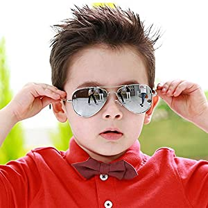 Fashion Colorful Kids Sunglasses Eyeglasses Goggles Boy Girls Eyewear 2-9 Years Old (Silver frame white mercury)