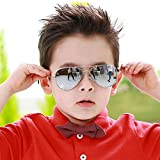 Fashion Colorful Kids Sunglasses Eyeglasses Goggles Boy Girls Eyewear 2-9 Years Old (Silver frame white mercury)