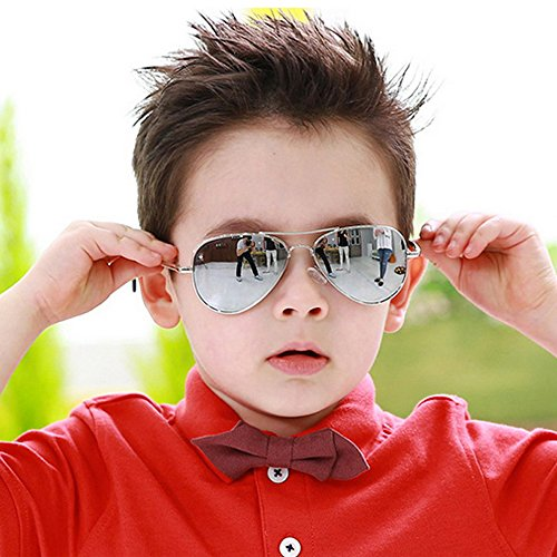 Fashion Colorful Kids Sunglasses Eyeglasses Goggles Boy Girls Eyewear 2-9 Years Old (Silver frame white - Old 6 Sunglasses Month