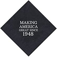 """70th Birthday Gifts Making America Great Since 1948 70th Birthday Party Supplies 50 Pack 5x5"""" Party Napkins Cocktail Napkins Black"""