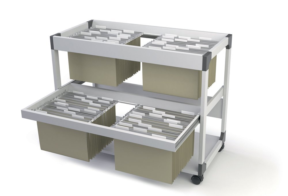 DURABLE System File Trolley fits up to 200 Letter-Size Suspension Files, Gray (379210)