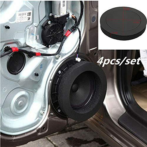 HERCHR Sound Insulation Accessories, 4PCS 6.5'' Car Speaker Ring Bass Door Trim Cotton,Black ()