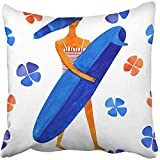 Pillow Covers Print Blue Hair Surf Girl with Surfboard and Flowers Summer in Watercolor Style Colorful Active Aquarell Polyester Zippered 18x18 Square Pillow Case for Home Bed Couch Sofa