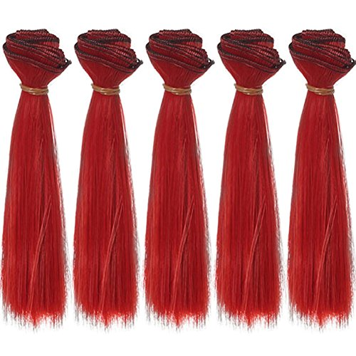 5pcs/lot 15cm Long Straight Fire Red Heat Resistant Hair Pieces for Making BJD Blythe Pullip Doll's Wig