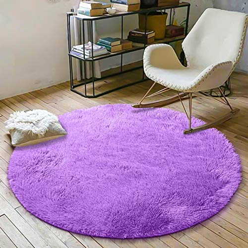 YOH Soft Round Fluffy Area Rugs Circle Rug for Bedroom Kids Room Living Room Playroom Boys Girls Baby Kids Children Play Carpet for Bedroom Home Nursery Decor Yoga Mats (4 x 4 Feet,Purple) (Round Area Fluffy Rugs)
