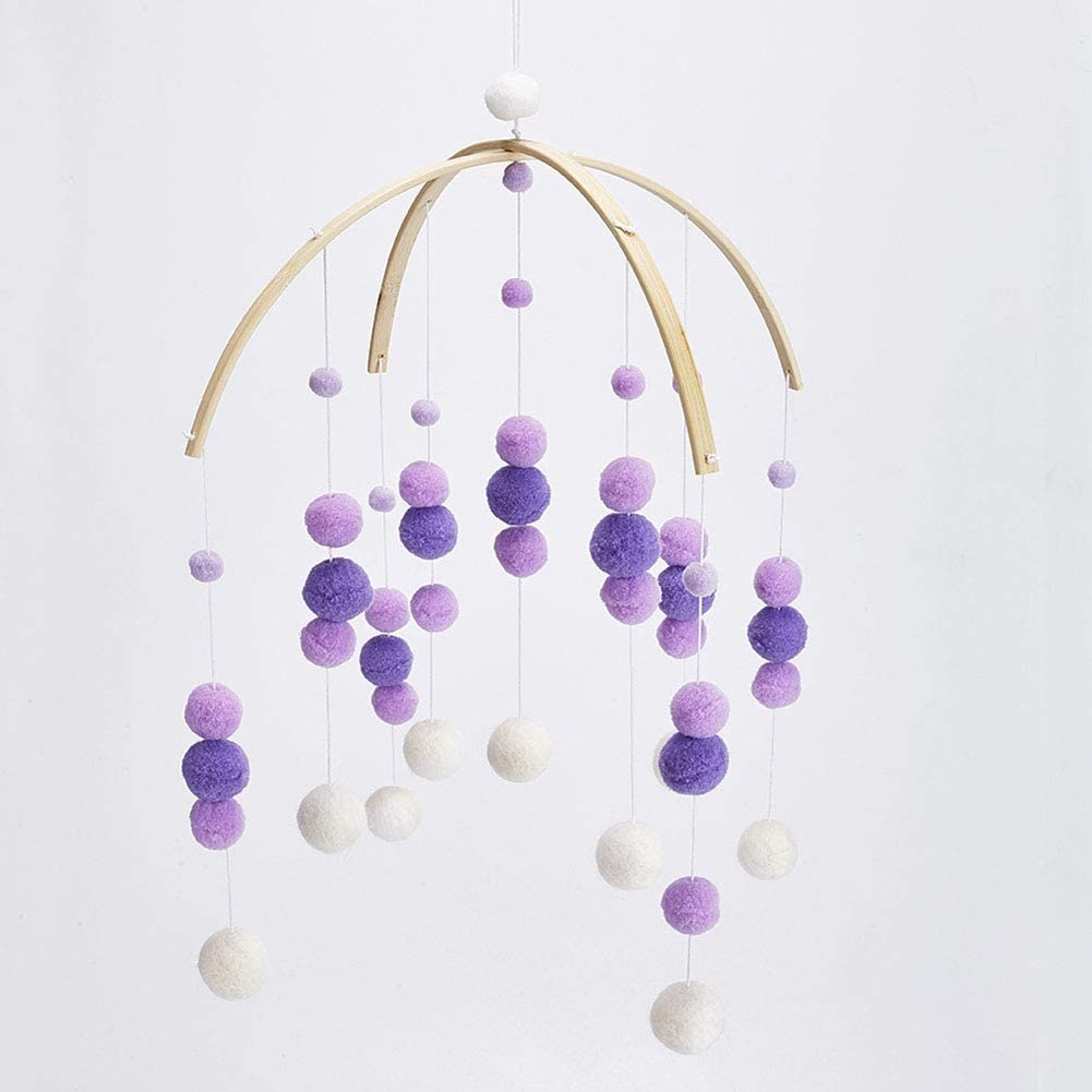 Baby Crib Mobile,Baby Mobile Crib Felt Ball Hanging Toys Pendant Wind Chimes Decorations,Gifts for Newborn,Nursery Decor for Girls Boys(Purple)