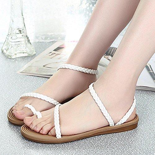 Sandalias para Mujer, RETUROM Verano plana de hermosas mujeres tejer sandalias zapatos Blanco