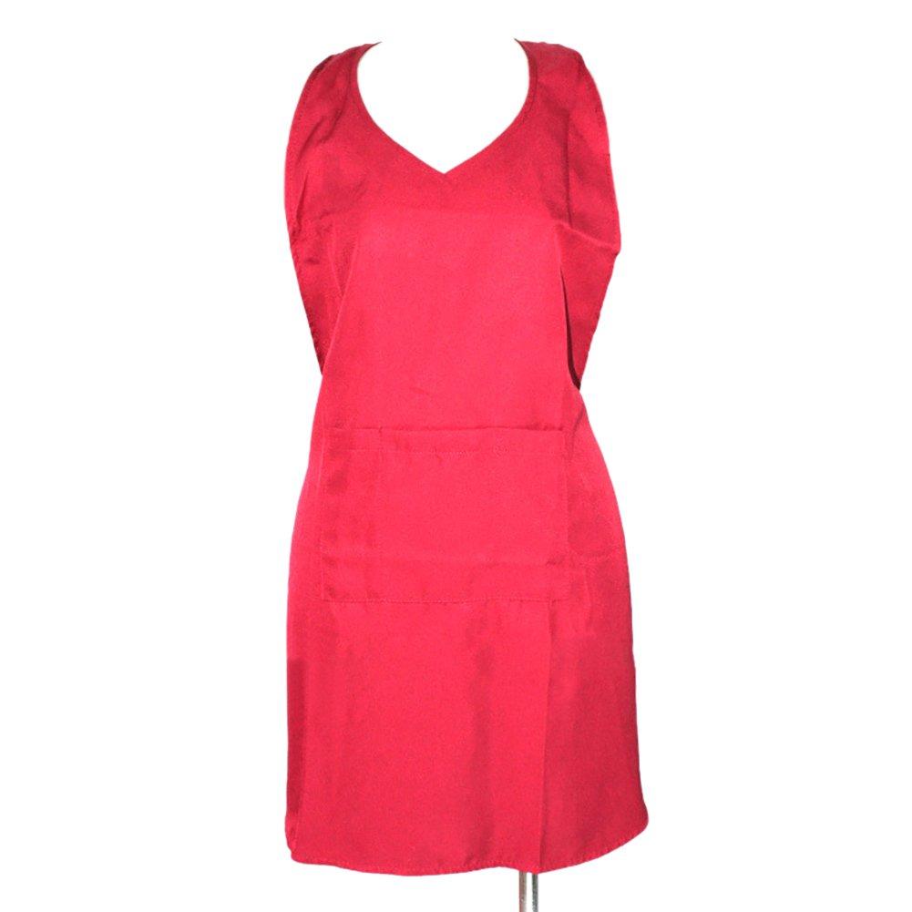 (Price/each) Opromo Short Soft V-Neck Tuxedo Apron with Three Pockets, Two Colors, 23 1/2'L x 19 1/2'W 23 1/2L x 19 1/2W-Black-L 6APN-LE0109_BLACK-L