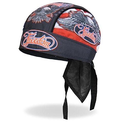 - Hot Leathers Freedom Eagle Patriotic Star Red White Blue Black Head Wrap Durag Skull Cap Biker
