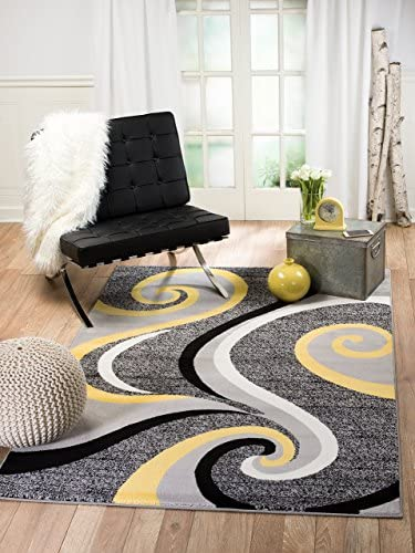 Summit 39 Yellow Grey Swirl Area Rug Modern Abstract Many Sizes Available , 4 .10 x 7 .2