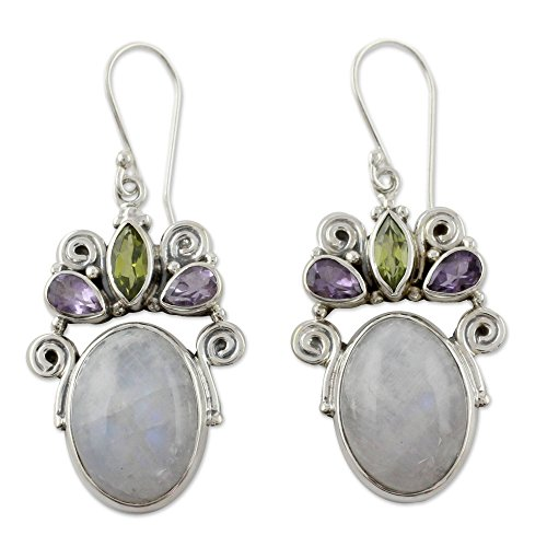 NOVICA Multi-Gem Rainbow Moonstone .925 Sterling Silver Dangle Hook Earrings Aura