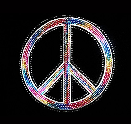 Peace Sign - Multicolor - Sequin and Rhinestone Iron on - Sign Peace Sequin