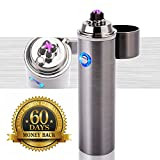 Plasma ARC Flameless Torch Lighter - ROKKES Windproof Plazmatic Electric Lighter, USB Rechargeable Dual ARC Lighter For Cigarette Cigar Pipes, Fire Starter For Candle BBQ, X Beam Tesla Thunder Lighter