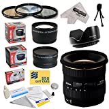 Sigma 10-20mm f/4-5.6 EX DC HSM Autofocus Lens For The Canon EOS Rebel T5, T5i, T4i, T3i, T3, T2i, T1i, XS, XSi, XTi, XT SL1, 60D, 50D, 40D, 30D, 20D, 7D, 6D, 5D, 1D DSLR Cameras Includes 3 Year Extended Lens Warranty + 0.43x High Definition II Wide Angle