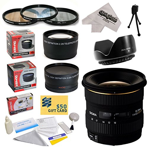 Sigma 10-20mm f/4-5.6 EX DC HSM Autofocus Lens For The Canon EOS Rebel T5, T5i, T4i, T3i, T3, T2i, T1i, XS, XSi, XTi, XT SL1, 60D, 50D, 40D, 30D, 20D, 7D, 6D, 5D, 1D DSLR Cameras Includes 3 Year Extended Lens Warranty + 0.43x High Definition II Wide Angle by Sigma