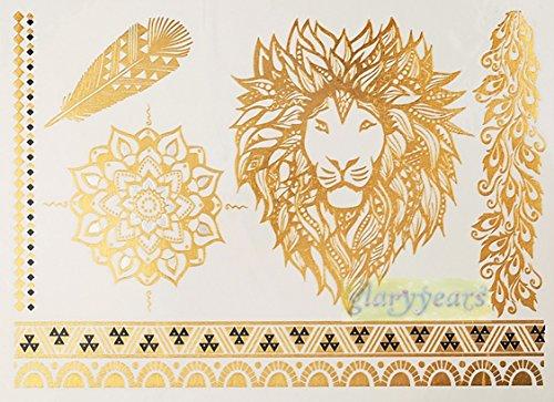 Metallic Gold Silver Lion Temporary Body Tattoo Stickers