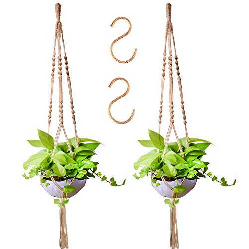 Zealor 55 Inches Plant Hanger Macrame Jute 4 Legs Plant Holder with Extra S Shaped Hooks, Pack of 2 ( Without Beads )