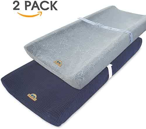 Ultra Soft and Stretchy Changing Pad Cover 2pk by BlueSnail (Gray+Navy)