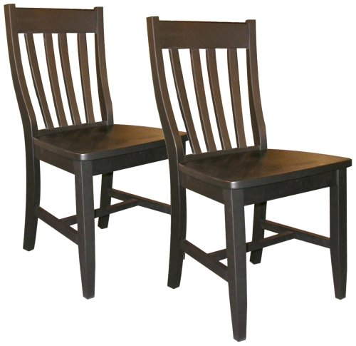 Set of 2 Black Finish Schoolhouse Chairs