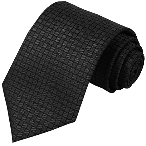 KissTies Mens 63'' XL Long Tie Black Solid Necktie For Tall Man + Gift Box
