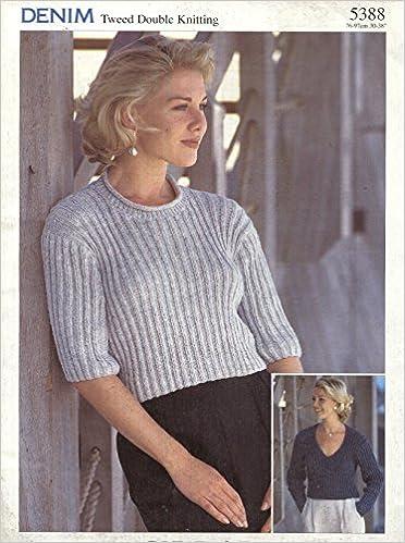 Sirdar Denim Tweed Dk Knitting Pattern 5388 Ladys Ribbed Cropped