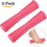 Foot Massager Roller, Vancle Silicone Exercise Foot Hand Massage Roller - Relieve Plantar Fasciitis, Foot Arch Pain, Heel, Deep Tissue, Shoulder and Legs- Acupressure/ Reflexology Tool/ Physical Therapy (2 Pack(Rose Red+Rose Red))