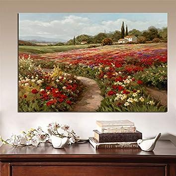 Li han shop Claude Monet Álamos Campos De Amapolas Paisaje Impresionista Pintura Al Óleo sobre Lienzo Carteles E Impresiones Cuadro De Pared para Sala De Estar A7 40X50Cm