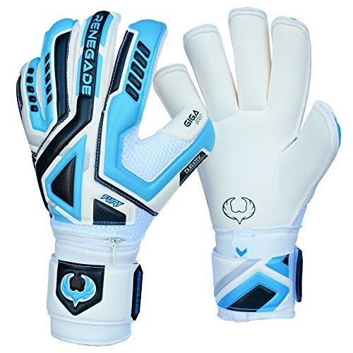 Renegade GK Fury Sub-Z Roll Cut Level 4 Adult & Junior Goalie Gloves with Pro-Tek Fingersaves - Youth Soccer Goalie Gloves with Thumb Protection - Goal Keeper Gloves Kids - Blue, White, Silver