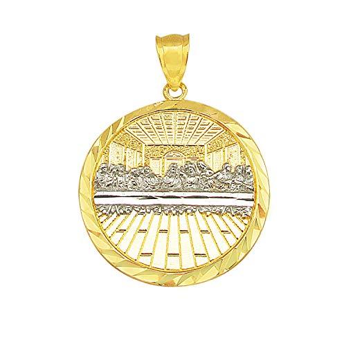 (AMZ Jewelry 10K Yellow Gold Last Supper Pendant Last Supper Medallion)