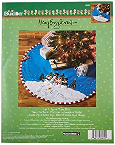bucilla felt applique chtistmas tree skirt kit 43 inch round 86680 let it snow