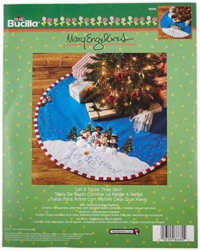 Bucilla Felt Applique Chtistmas Tree Skirt Kit, 43-Inch Round, 86680 Let it Snow
