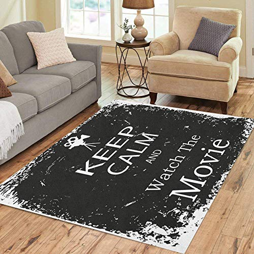 Pinbeam Area Rug Old Keep Calm and Watch The Movie Vintage Home Decor Floor Rug 5' x 7' Carpet