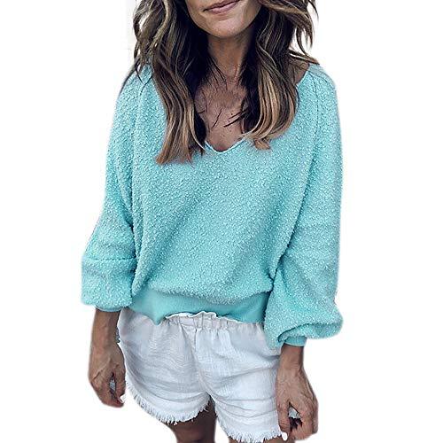 Sweater Herringbone V-neck (Fashion Women Velvet Long Sleeve Lantern Sleeve Solid V-Neck Top Sweater Blouse Duseedik)
