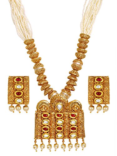 The Jewelbox Traditional Temple Design Kundan Red Pearl Meenakari 22K Gold Earring Necklace Set Girls Women ()