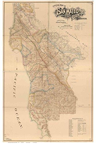 San Mateo County California 1894 - Wall Map with Landowner Names Farm Lines Genealogy Old Map Reprint ()