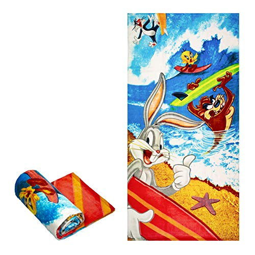 Classy Joint Looney Tunes Tweety, Bugs Bunny, Taz Tasmanian Devil, Sylvester Surfing Beach Towel ~ Can Be Used for Bath (Bath Towels Tweety)