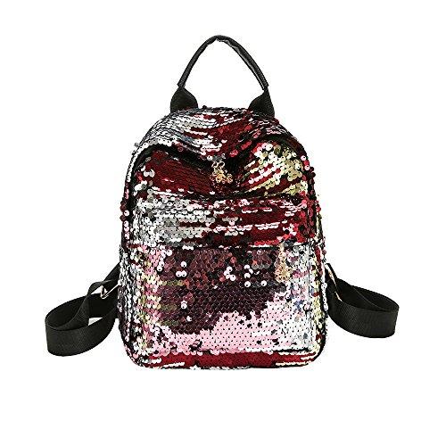 Women's Bags HOSOME Women's Shinning Glitter Bling Backpack Preppy Style Sequins Travel Satchel Red ()