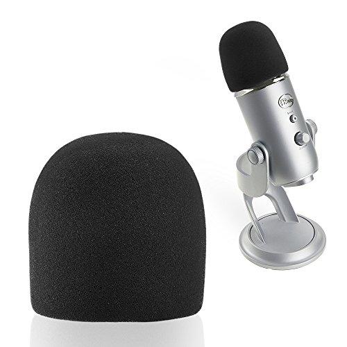 SUNMON Microphone Foam Windscreen Cover, Perfect Mic Pop Filter Mask Shield for Blue Yeti, Yeti Pro Microphones (Black)
