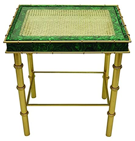 Malachite emerald green side table art deco accent end bamboo