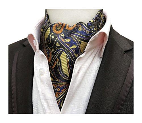 Mens Gold Blue Orange Floral Luxury Silk Jacquard Evening Party Cravat Tie ()