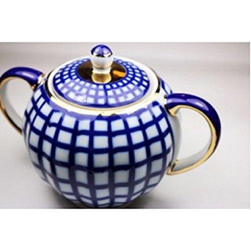 (Ornamental, Household, Decor, Ceramic, Lomonosov Porcelain Cobalt Check Sugar Bowl)