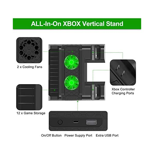 FastSnail Vertical Stand Compatible with Xbox One X/Xbox One S/Xbox One with Cooling Fan, Cooler and Controller Charging… 2