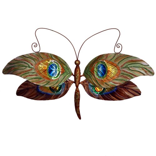 Eangee m711044 Wall Dragonfly Peacock Metal Art Piece